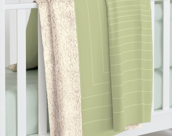 Minimalist Sage Green Rectangle Sherpa Fleece Blanket