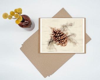 Cone & Bone Digital Watercolor Minimalist Print Wall Art