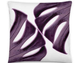 Tropical Purple Monstera Leaf Decorative  Throw Pillow