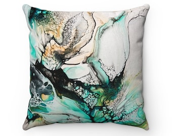 Abstract Turquoise Marble Faux Suede Decorative Square Pillow Case