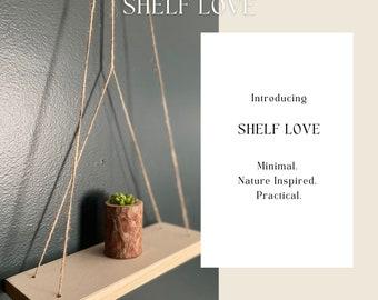 Minimal Boho Jute Hanging Shelf