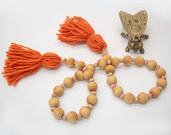 Wine and Coffee Stained Farmhouse Wood Bead Garland• Wood Bead with Tassels• Tiered Tray Decor• Boho Wood Beads• Garland decoration