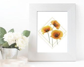 Minimalist Poppy Flower Wall Art Print