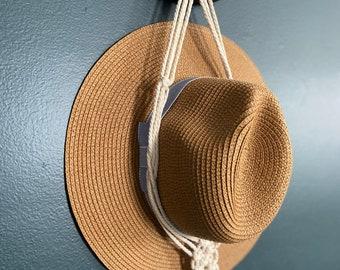 Macrame Boho Double Hat Hanger | Farmhouse | Hat Rack | Hat Holder