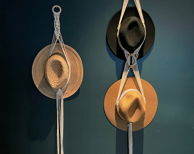 Featured listing image: Macrame Boho Double Hat Hanger | Farmhouse | Hat Rack | Hat Holder