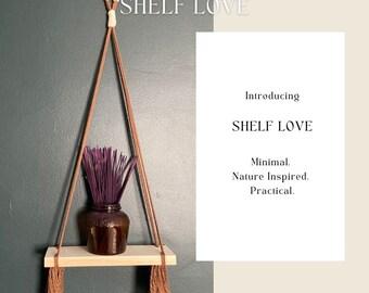 Minimal Boho Brown Hanging Shelf