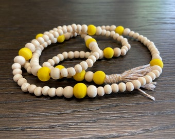 Turmeric Stained Wood Bead Necklace/ Garland