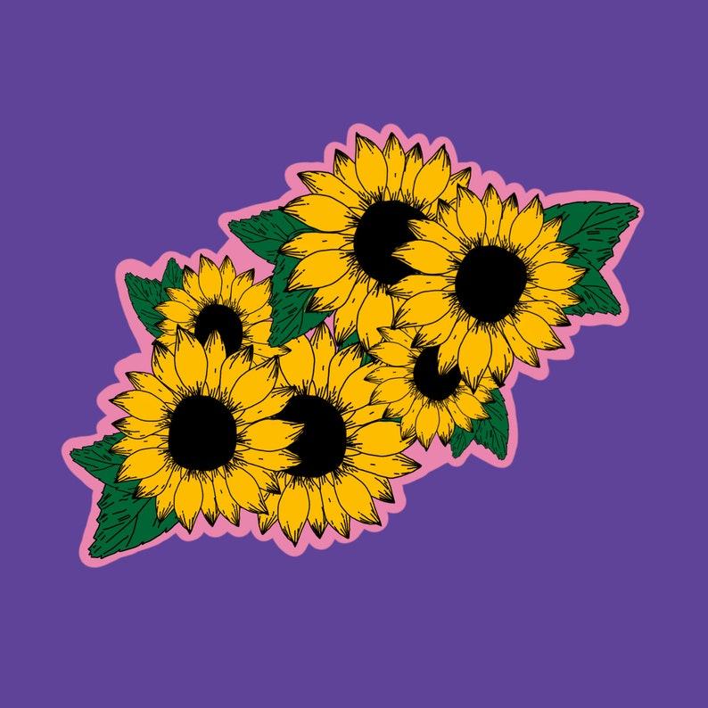 Waterproof Sticker Holographic Sunflower Sticker