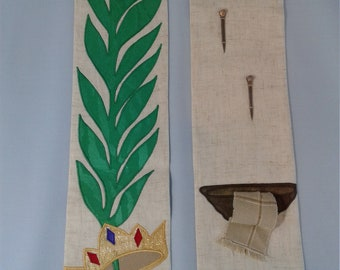 Lent Passion Week Stole, washing of feet applique, palm branch stole