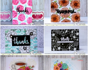 Thank You Card, Thanks, Handmade Card,  For Her, For Him, For Friend, greeting cards in Belgium, Thank you, flower card, Thanks a latte