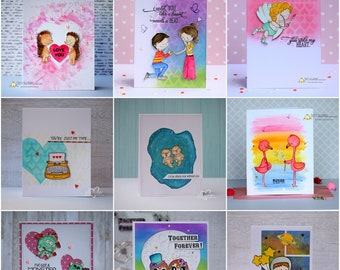 Love Card, Friendship Card, Valentine Card , For Her, For Him, Proposing, handmade cards, greeting cards in Belgium, Cute Critters Card