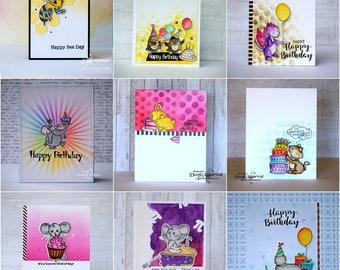 Handmade Birthday Card, Birthday Card, critter Card, Birthday Greeting Card, cute cards, handmade cards, greeting cards in Belgium, critters