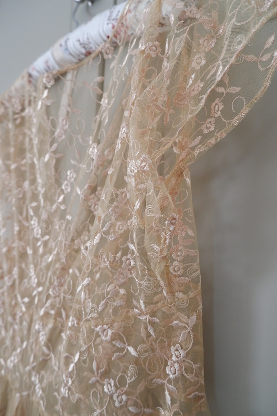 Antique gold lace wedding gown