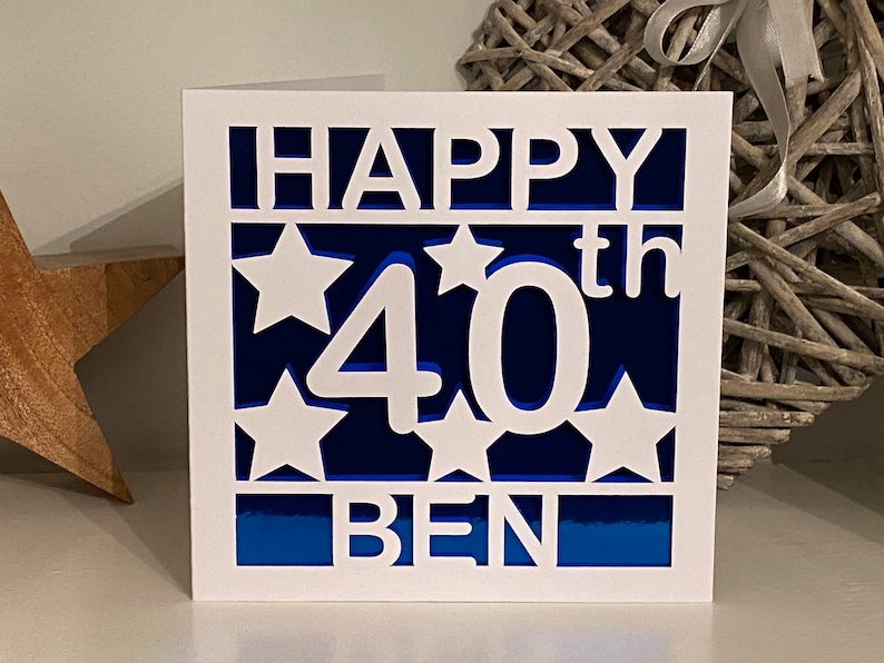 Personalised Happy 40th Birthday Card. Add any name, choice of colours