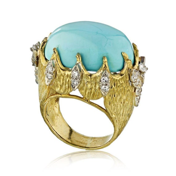1970's 18K Yellow Gold Turquoise Ring