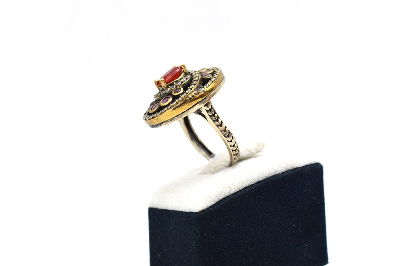 Silver Garnet Stone Ring,Handmade Jewelry Ring Hurrem Sultan Rings turkish jewelry Ring