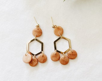 Addy in Rose Gold and Gold Accents, Handmade Jewelry, Polymer Clay Earrings