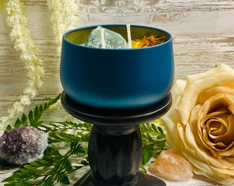WORTHY OF IT | Intention & Plain Candle | 8oz  100% Soy Wax Candle |  Double Wick Crystal Candle