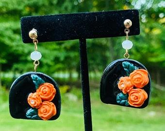 floral earrings  | Clay Statement Earrings | Resin Earrings