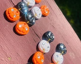 Halloween Earring | Clay earrings | statement earrings | Resin earrings | Pumpkin Rhinestone dangles