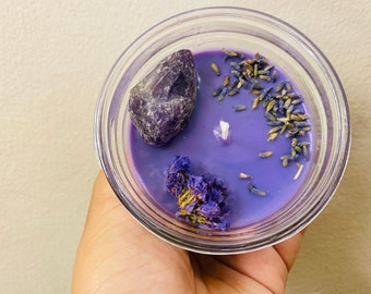 Purple Powerhouse | Intention Candle | 6oz Soy Wax Candle | Glass Jar
