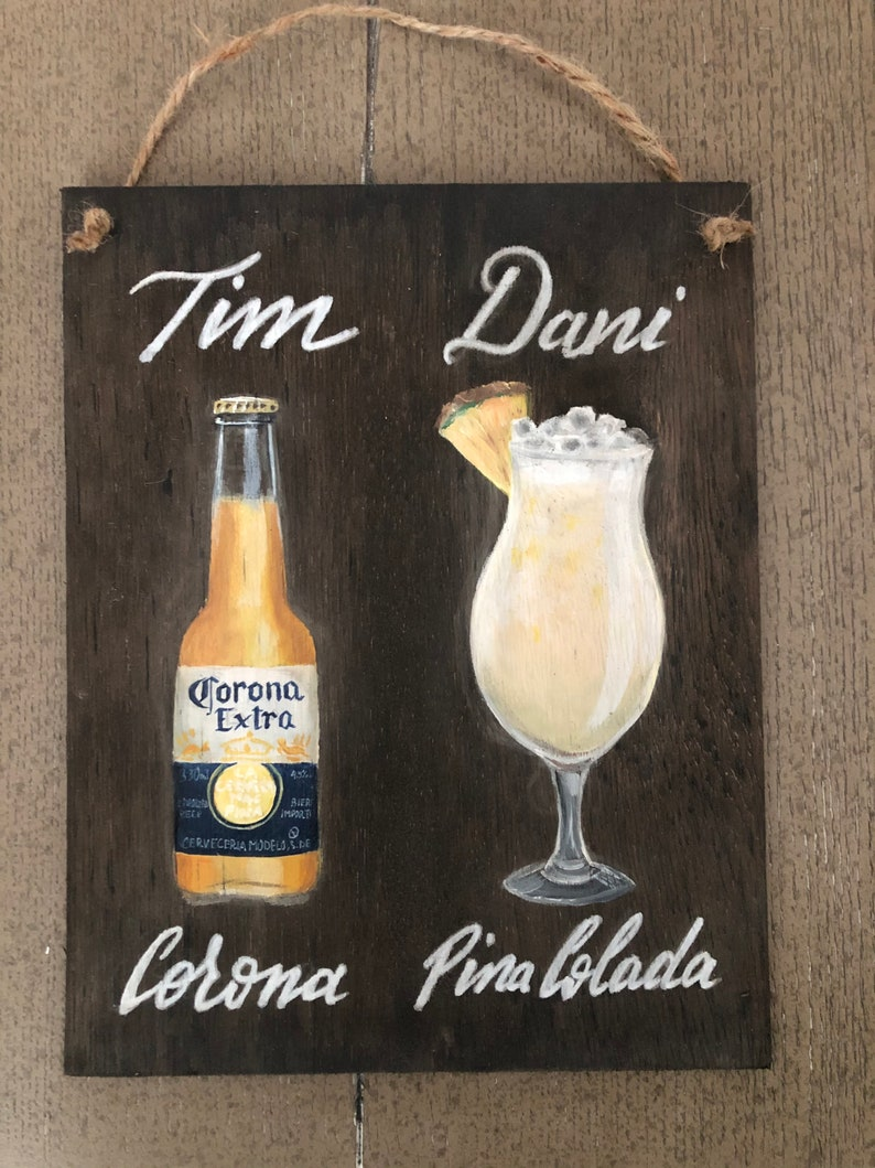 His/Hers Drinks on wood image 0