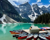 Morraine Lake Magnificence: An original blank photo card by Heather Sinton, Canadian photographer