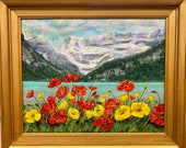 Lake Louise Poppy Extravaganza: an original acrylic painting by Heather Sinton