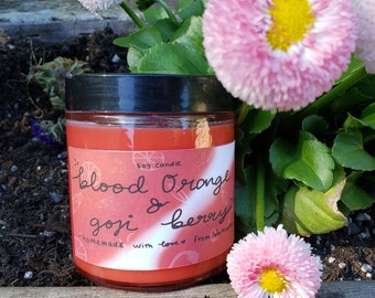 Blood Orange & Goji Berry Scented Soy Candle