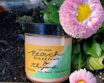Peach, Grapefruit & Thyme Scented Soy Candle