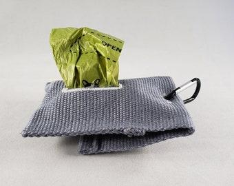 Blue/Gray Handmade Poop Bag Dispenser with Button - Pet Waste