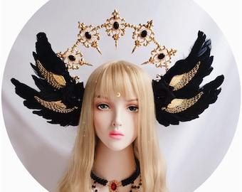 Feather crown headband, Lolita hairband, Halo Crown,sunburst crown, cosplay headpiece,Halo Crown,DIY Kit,bridal headband