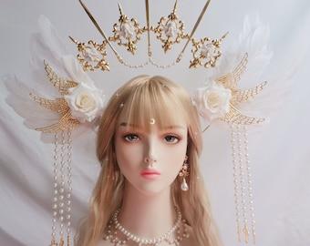 Feather crown, Lolita hairband,Halo Crown,sunburst crown, cosplay headpiece, Diamond crown,Halo Crown,DIY Kit,bridal headband