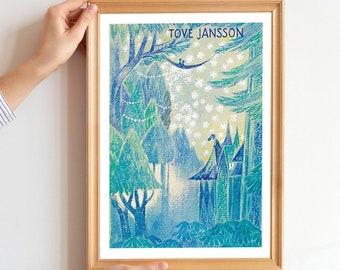 Moomin Art Poster, Mumintroll illustration art, Tove Jansson Poster, Nostalgic art Design Finland, Moomin art exhibition poster