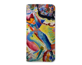 Kandinsky Samsung Wallet Folio Phone Case, S6, S7, S8, S9, S10, Fine Art Abstract Painting, Rotem Fleck, Faux Leather Flip Phone Case
