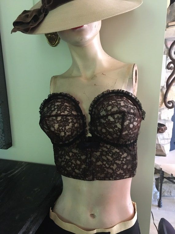 Beautiful vintage plunging brown lace wired 1940s… - image 1