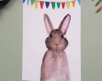 """Hand-painted postcard """"Bunny"""" with pennant chain"""