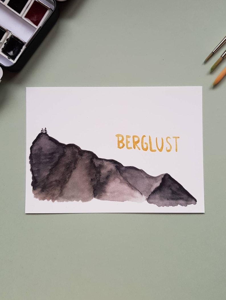 Hand-painted postcard Berglust