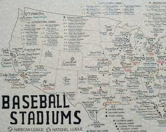 Baseball Stadiums map U.S.
