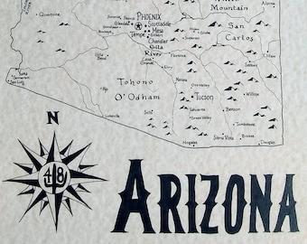 Arizona hand drawn map