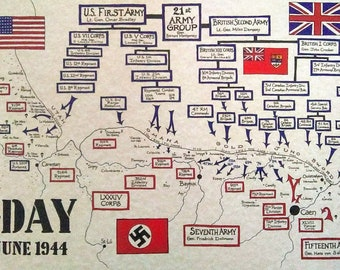D-DAY hand drawn map