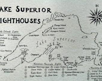 Lake Superior Lighthouses map