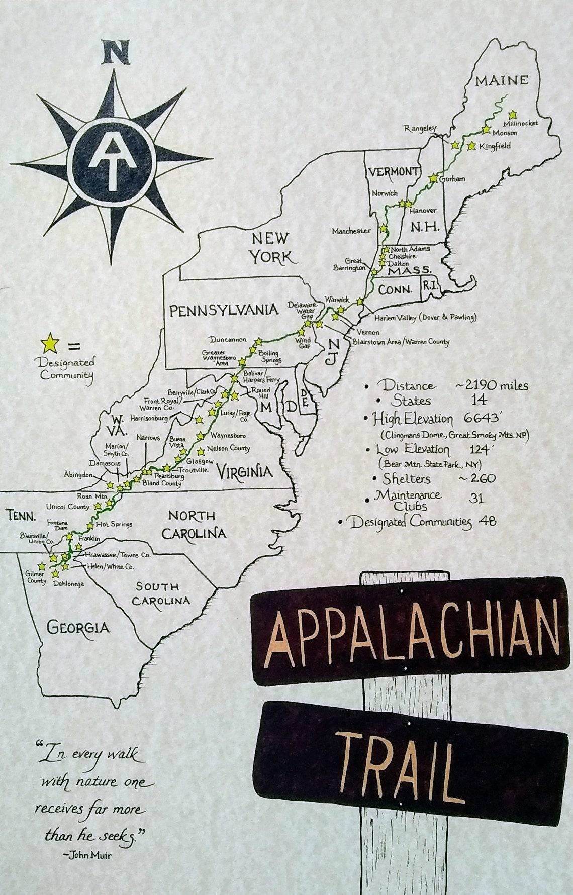 Appalachian Trail hand drawn map image 0