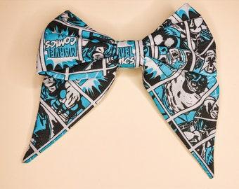 Blue Marvel Comic Strip Hair Bow Clip - Marvel Inspired