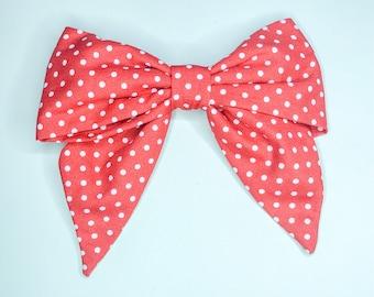 Red Polka Dot Bow Hair Clip