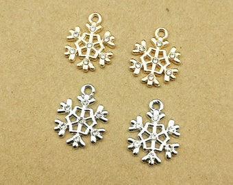 10pcs 13x17mm crystal snowflake charm for jewelry making fashion earring pendant bracelet and necklace charms