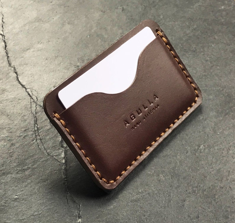 minimalist wallet handmade leather card wallet slim card sleeve gift for him Leather card holder personalized wallet
