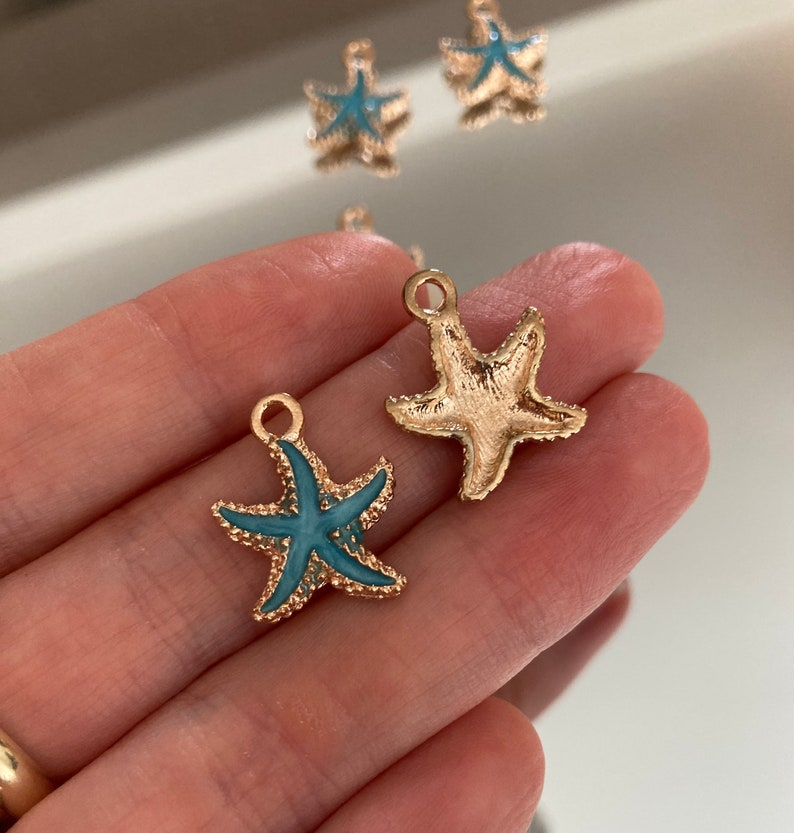 starfish charms Star charms star fish charms blue star charms