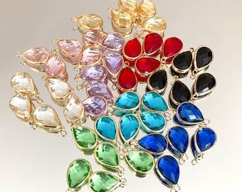 5 Tear drop charms, gem charms, glass crystal charms, purple crystal charms, pink crystal charms