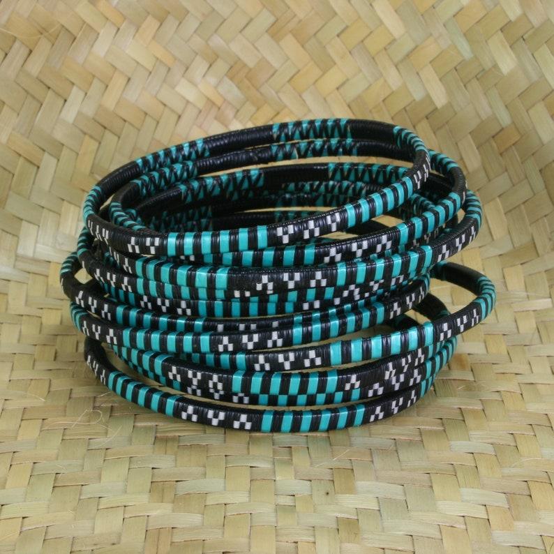 Recycled Bracelets Waterproof Surfer Beach Bracelet GREEN Fun to Stack Bangles Set of 3 Woven Bangle Bracelets